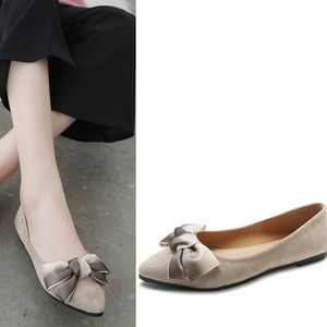 Shoes - 🆕brown Ombré bow suede pointed toe ballet flats